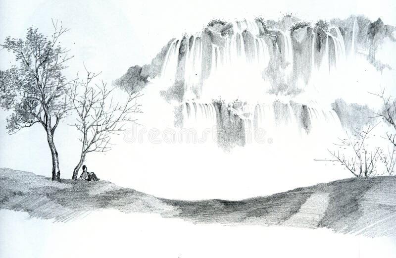 Abbozzo dell'uomo e delle cascate illustrazione di stock