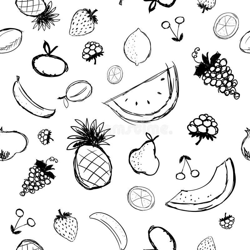 Abbozzo delle bacche e della frutta, priorità bassa senza giunte illustrazione vettoriale