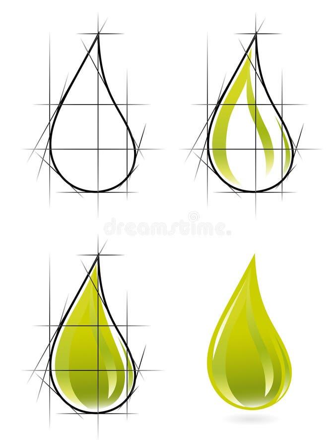 Abbozzo di goccia dell'olio di oliva royalty illustrazione gratis
