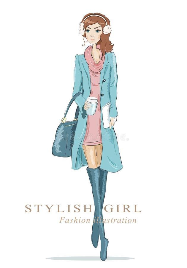 Abbozzo di modo Donna del disegno con la tazza di caffè e della borsa illustrazione vettoriale