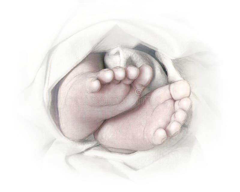 Abbozzo disegnato a mano della matita dei piedi del bambino illustrazione vettoriale