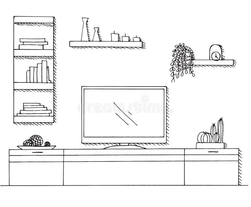 Abbozzo disegnato a mano Schizzo lineare dell'interno Scaffale, apprettatrice con la TV e scaffali illustrazione di stock