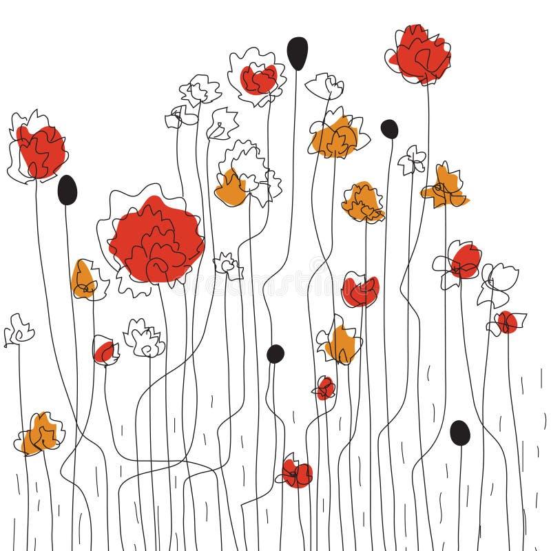 Abbozzo floreale del bordo illustrazione vettoriale