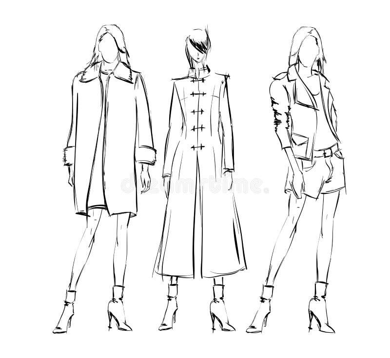 Download Abbozzo Ragazze di modo illustrazione vettoriale. Illustrazione di ragazze - 56887657