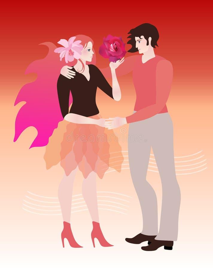 Abbracci di una coppia amorosa con la rosa rossa sulla mano dell'amica e del fiore rosa-chiaro dell'universo in suoi capelli illustrazione vettoriale