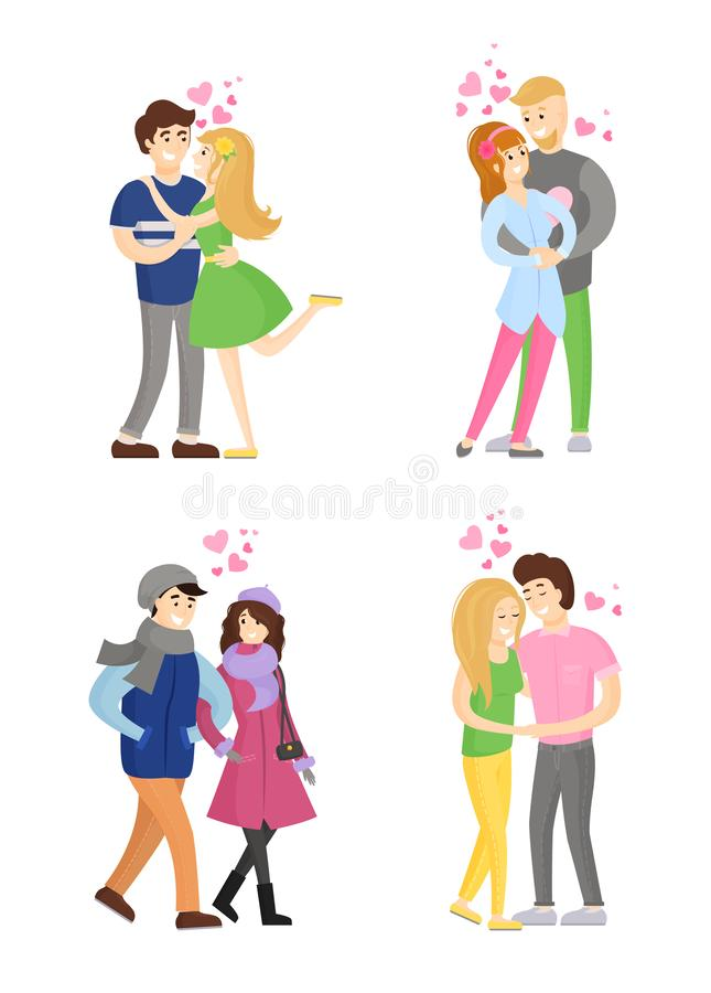 Abbracciare degli amanti, abbracciante tenero, vettore di passione illustrazione vettoriale