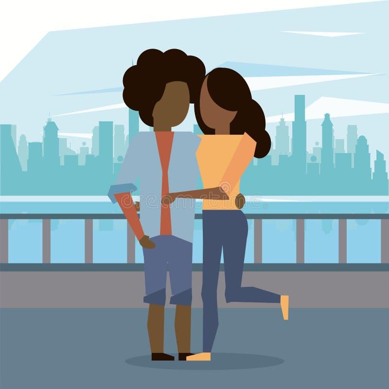 Abbracciare delle coppie di afro della donna e dell'uomo illustrazione vettoriale