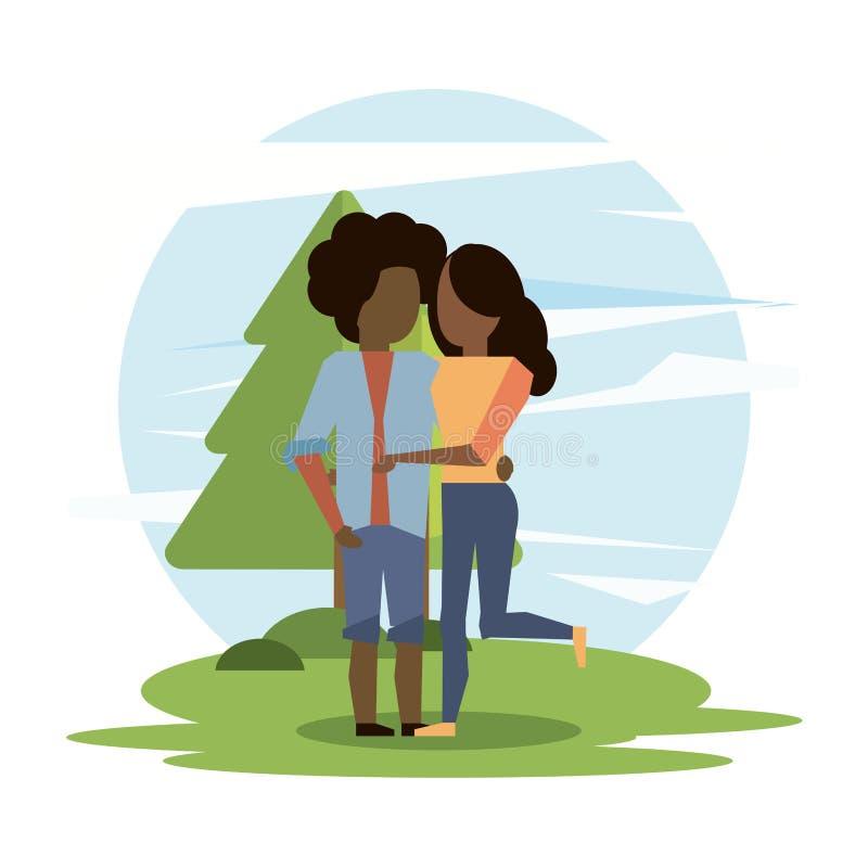Abbracciare delle coppie di afro della donna e dell'uomo illustrazione di stock