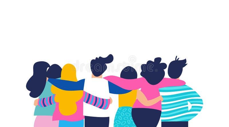 Abbraccio del gruppo dell'amico di diversa gente isolata illustrazione di stock