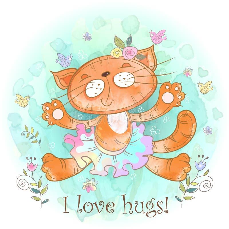 Abbraccio di Kitty La ballerina del gatto ama stringere a sé Vettore watercolor fotografia stock