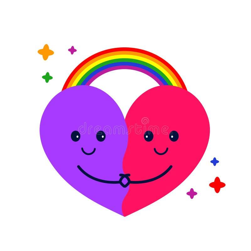 Abbraccio ed arcobaleno svegli del cuore Vettore illustrazione di stock