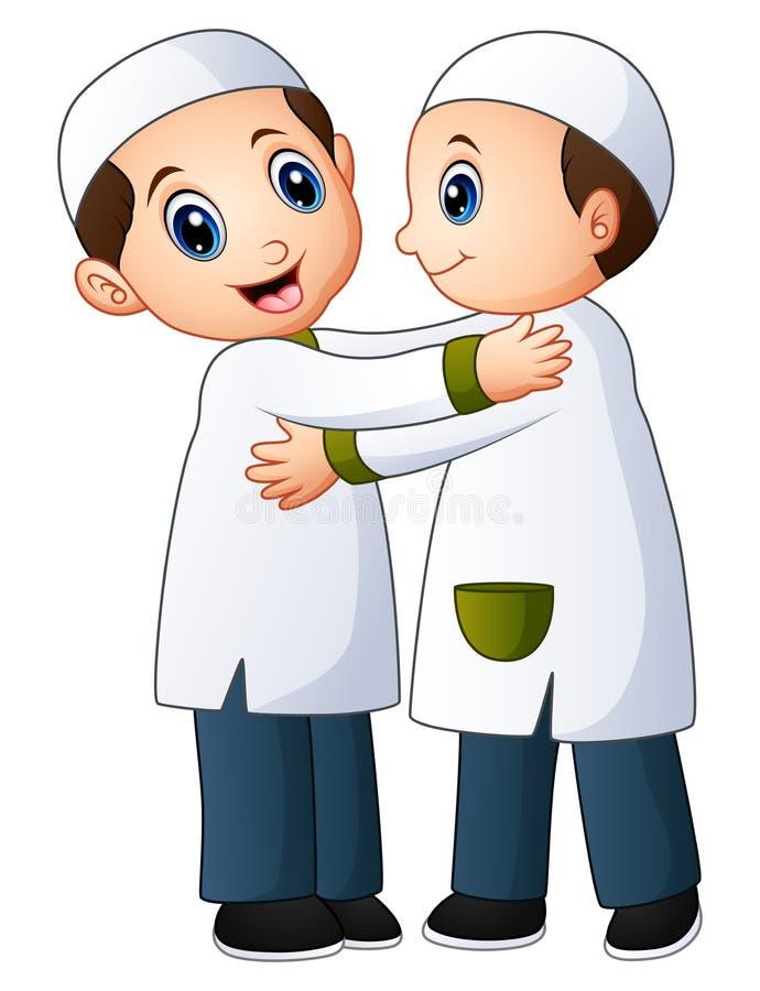 Abbraccio musulmano delle coppie del bambino per a vicenda illustrazione vettoriale