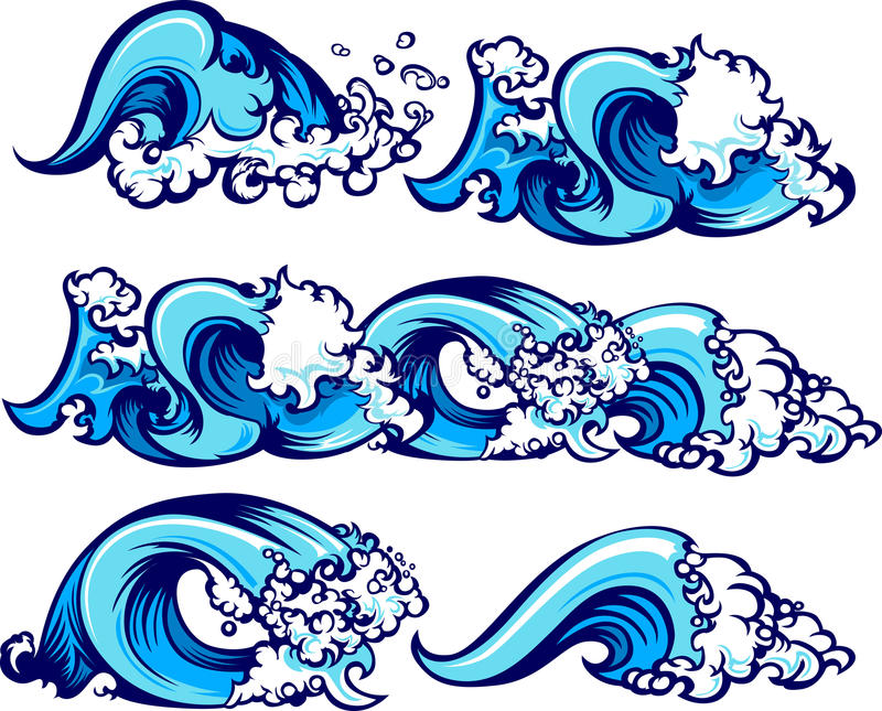 Abbrechende Wasser-Wellen-Abbildungen stock abbildung