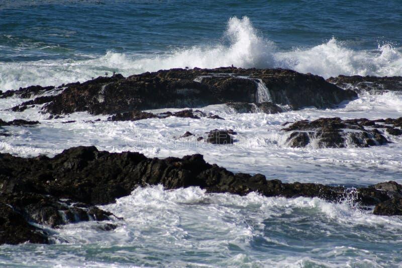 Abbrechende Welle auf Felsen stockfotos