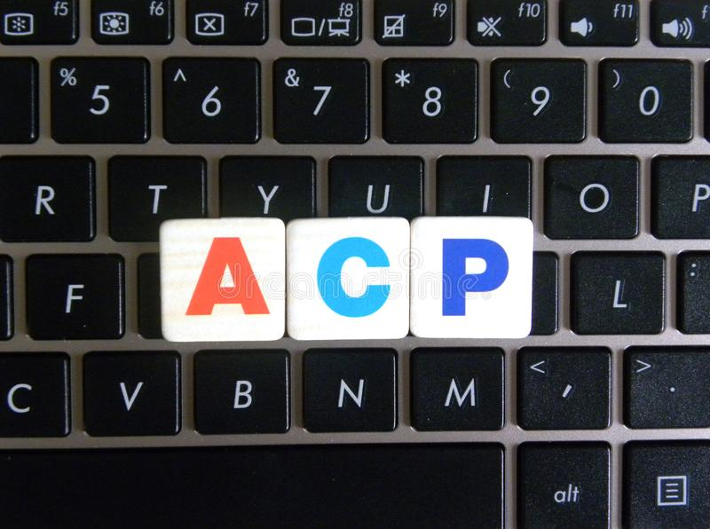 Abbreviation ACP on keyboard background. Abbreviation ACP Administration Control Panel on keyboard background royalty free stock photos