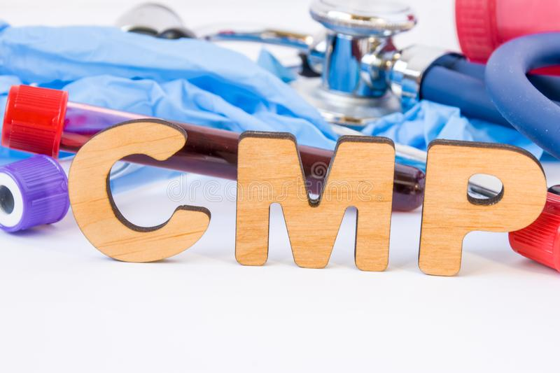 Abbreviation or acronym of CMP, in laboratory, scientific, research or medical practice means comprehensive metabolic panel, is in. Foreground with laboratory royalty free stock photos