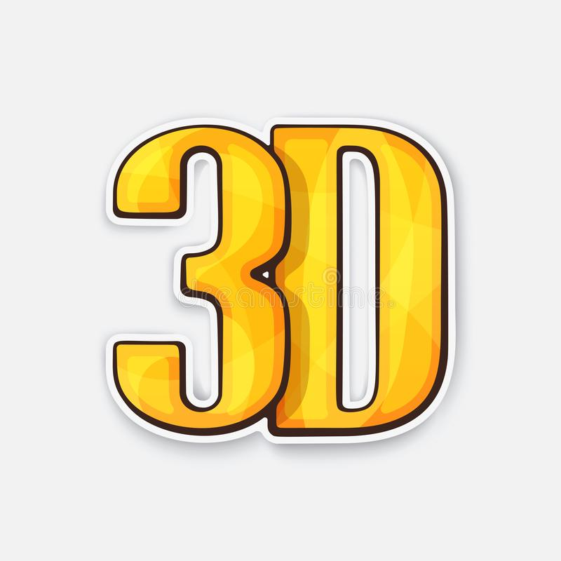 Abbreviation 3D for three-dimensional film. Icon for stereo movies. Movie industry vector illustration