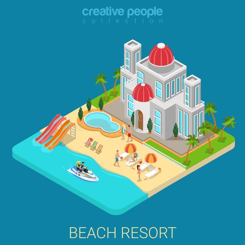Abbronzatura isometrica piana dell'isola del mare della località di soggiorno di vacanza dell'hotel della spiaggia 3d illustrazione di stock
