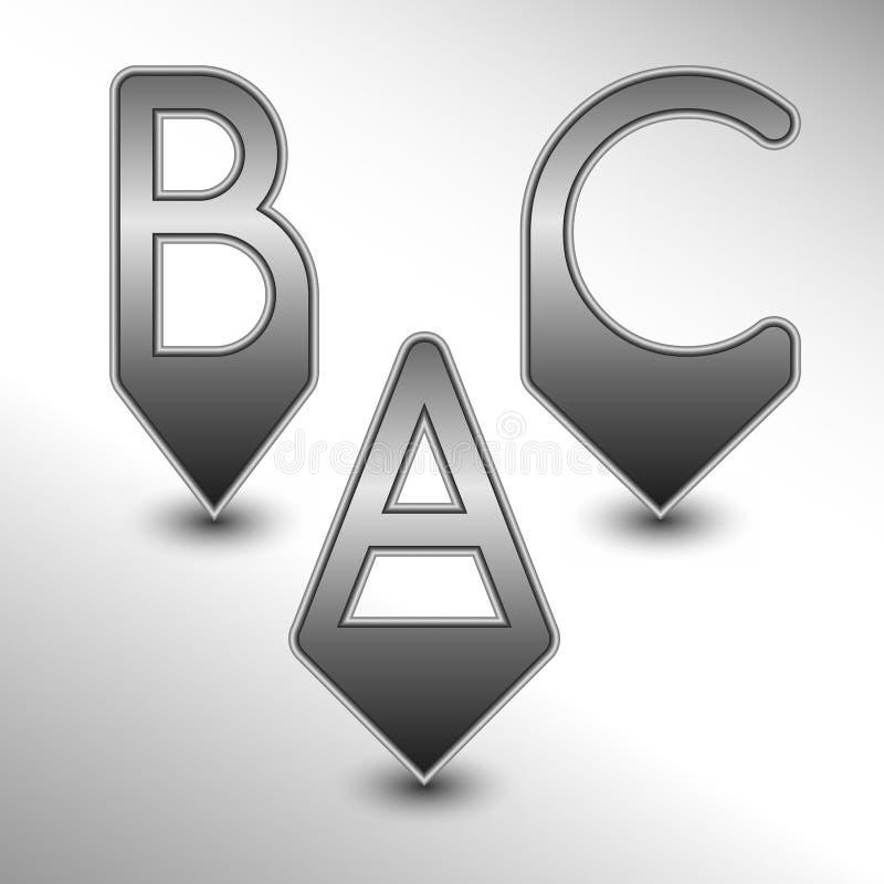 ABC别针 库存例证