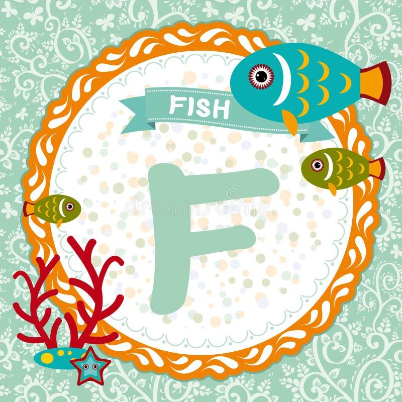 ABC动物:F是鱼 儿童的英语字母表 向量 库存例证