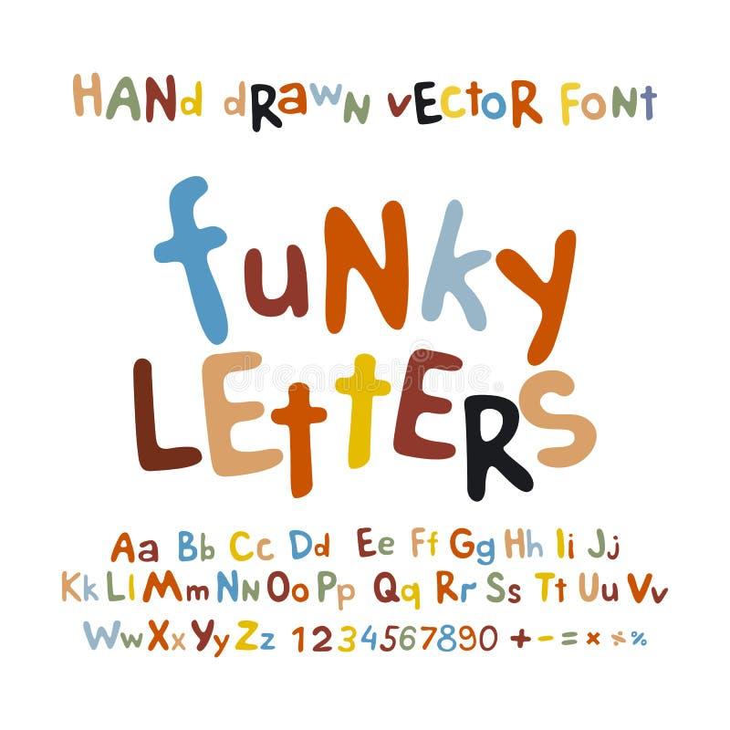 ABC字母表质朴的信件儿童乐趣五颜六色的集合动画片 向量例证