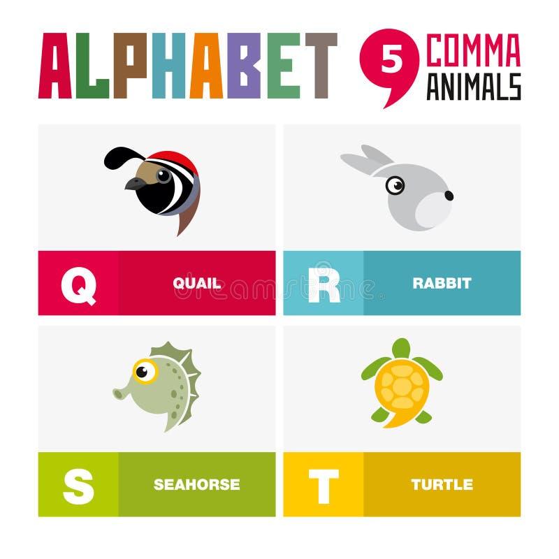 Abc英语字母表动物象集合传染媒介例证 向量例证