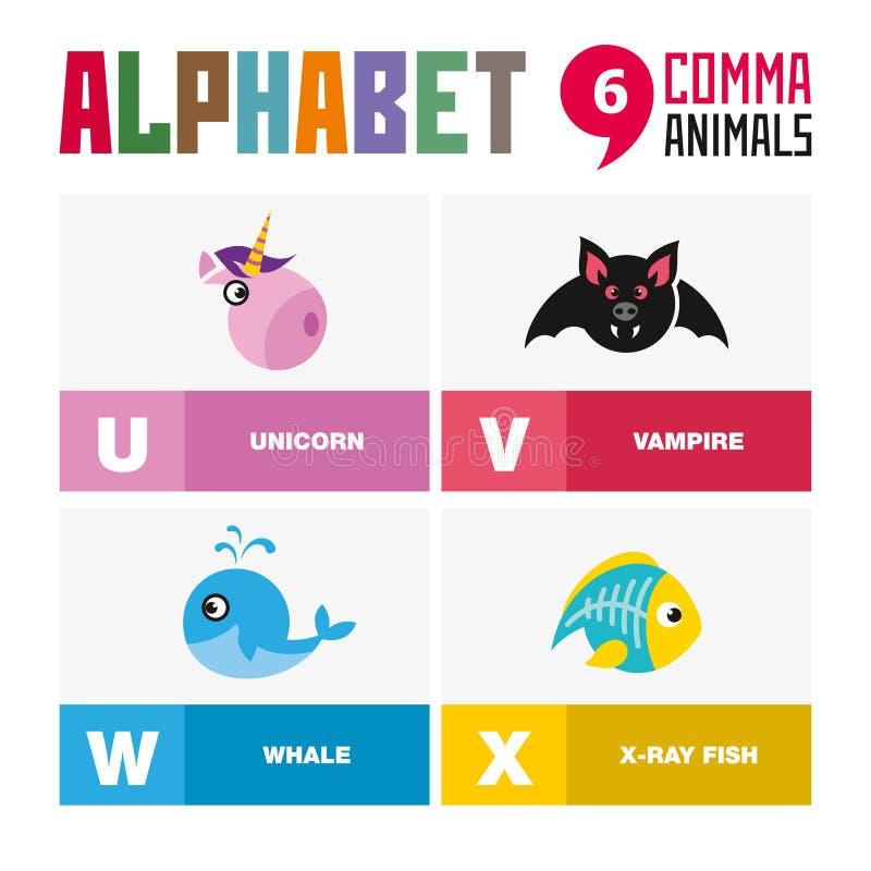 Abc英语字母表动物象集合传染媒介例证 库存图片