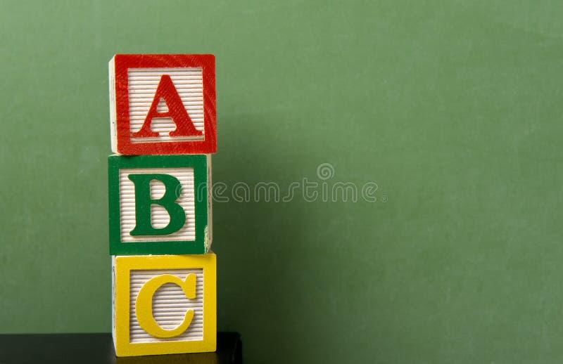 abc阻拦黑板前面 库存图片