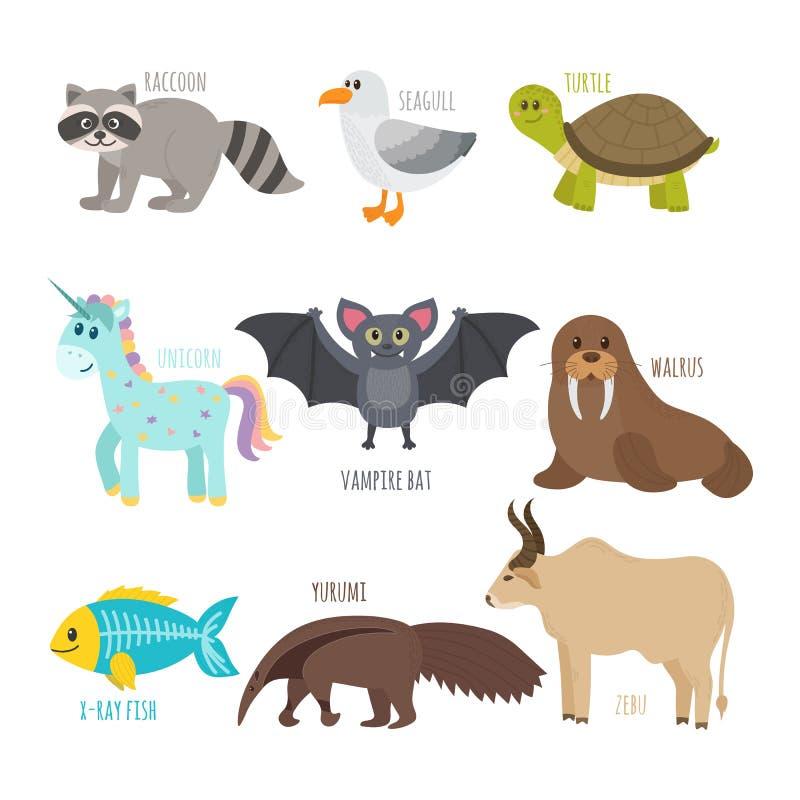 ABC Śliczny zoo abecadło w wektorze Śmieszni kreskówek zwierzęta raccoon ilustracji