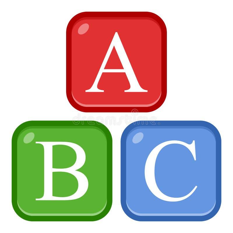 ABC αλφάβητου εικονίδιο που απομονώνεται επίπεδο στο λευκό ελεύθερη απεικόνιση δικαιώματος