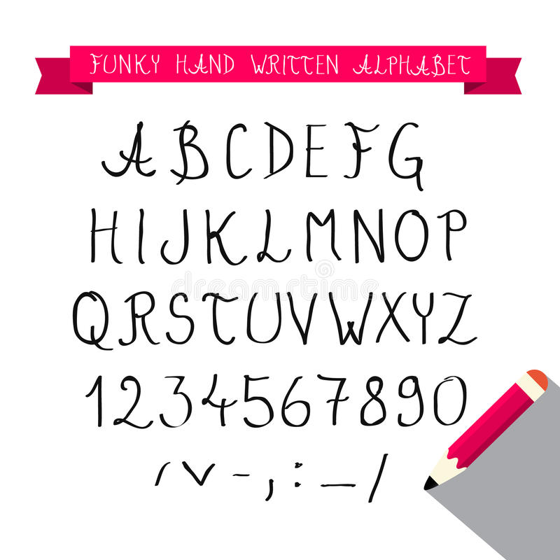 ABC - Το χέρι γραπτό σκιαγράφησε τη φοβιτσιάρη αναδρομική πηγή - αλφάβητο ελεύθερη απεικόνιση δικαιώματος