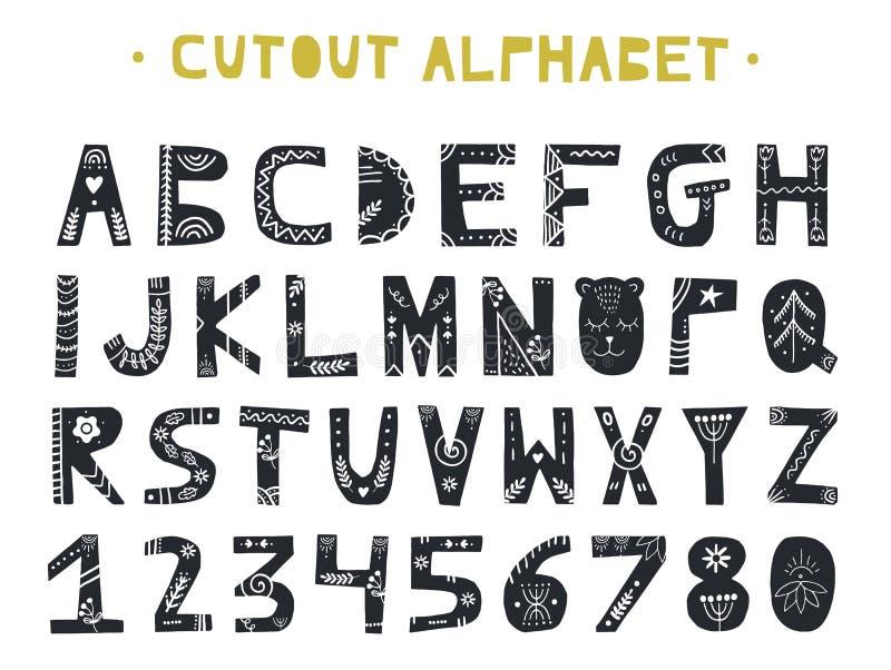 ABC выреза - латинский алфавит Уникально handmade письма с орнаментом народного искусства в скандинавском стиле иллюстрация вектора