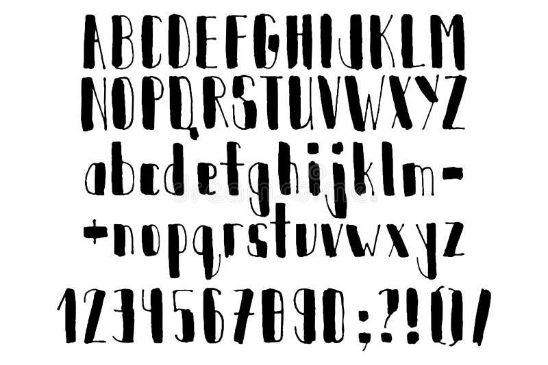 Abc нарисованный рукой алфавит рукописный Современный сценарий в векторе Handmade письма иллюстрация штока