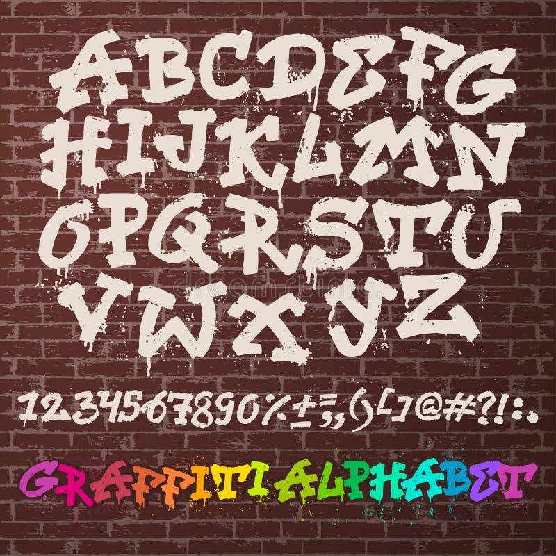 ABC шрифта graffity алфавита алфавитный ходом щетки с письмами и номерами или оформлением grunge алфавитным иллюстрация штока