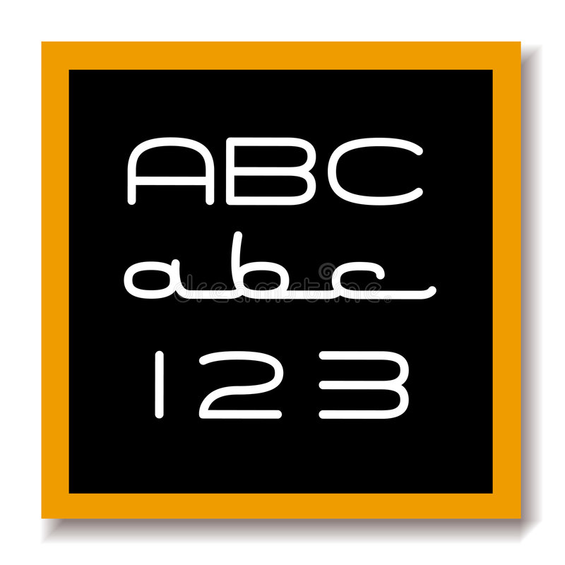 abc 123 deski edukacji czerni royalty ilustracja