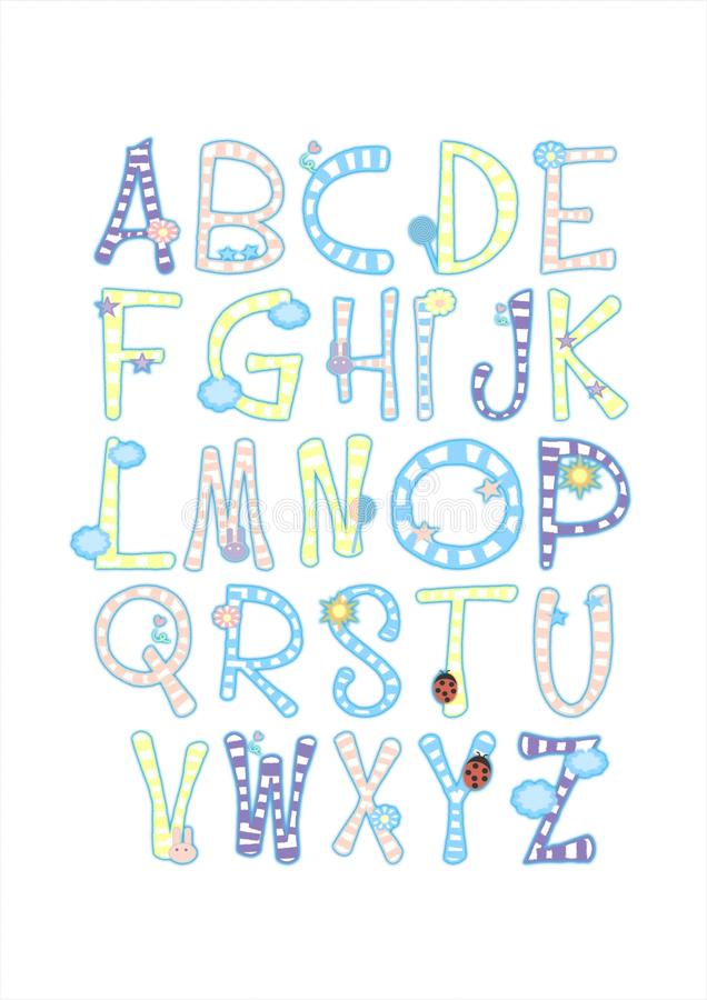 ABC abecadła dziecka pepiniery chłopiec Śmieszni Śliczni listy zdjęcia stock