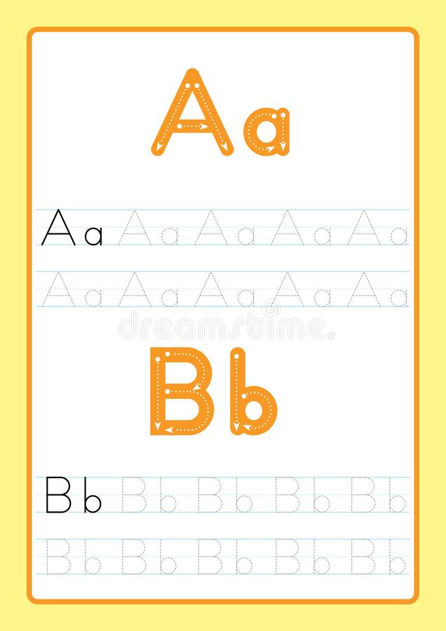ABC abecadło pisze list kalkowania worksheet z abecadło listami Podstawowa pisze praktyka dla dziecinów dzieciaków A4 papieru got zdjęcie royalty free