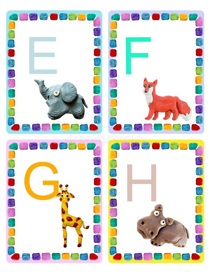 ABC abecad?a dziecka zwierz?ta b?ysn? edukacyjne karty plakatowe zdjęcia royalty free