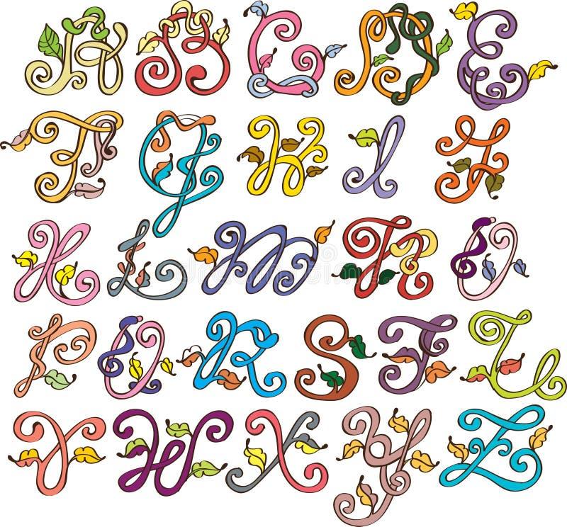 ABC Abstracto, Alfabeto Natural Con Las Hojas Ilustración del Vector ...