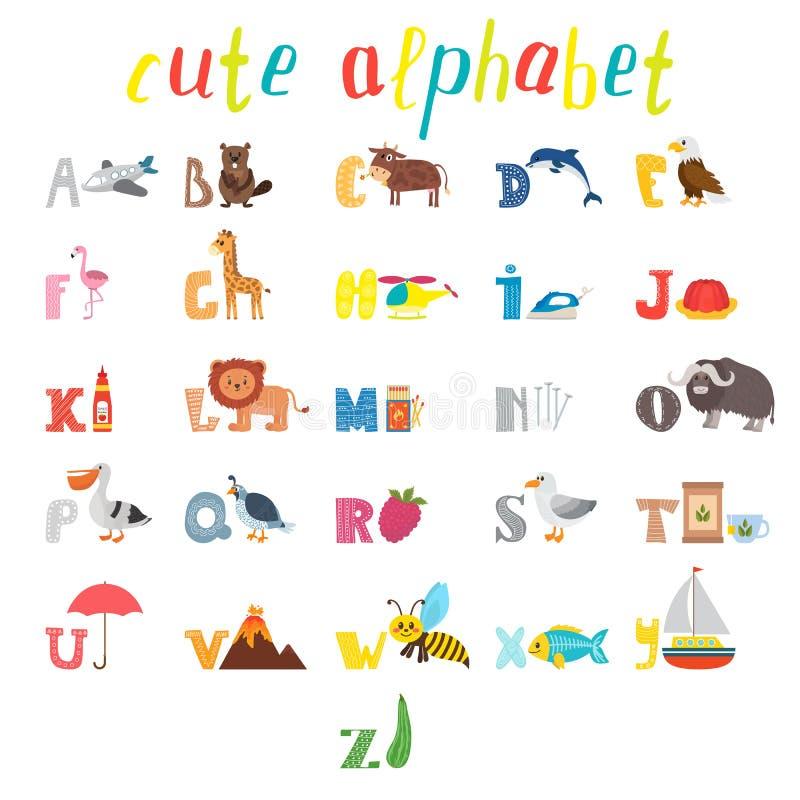 ABC Alfabeto das crianças com os animais bonitos dos desenhos animados e outro engraçado ilustração royalty free