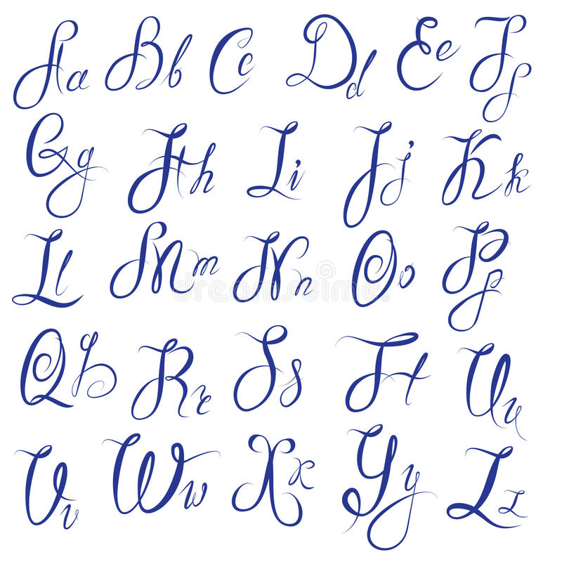 Bien-aimé ABC - Alphabet Anglais - Calligraphique Manuscrit Illustration de  TG11