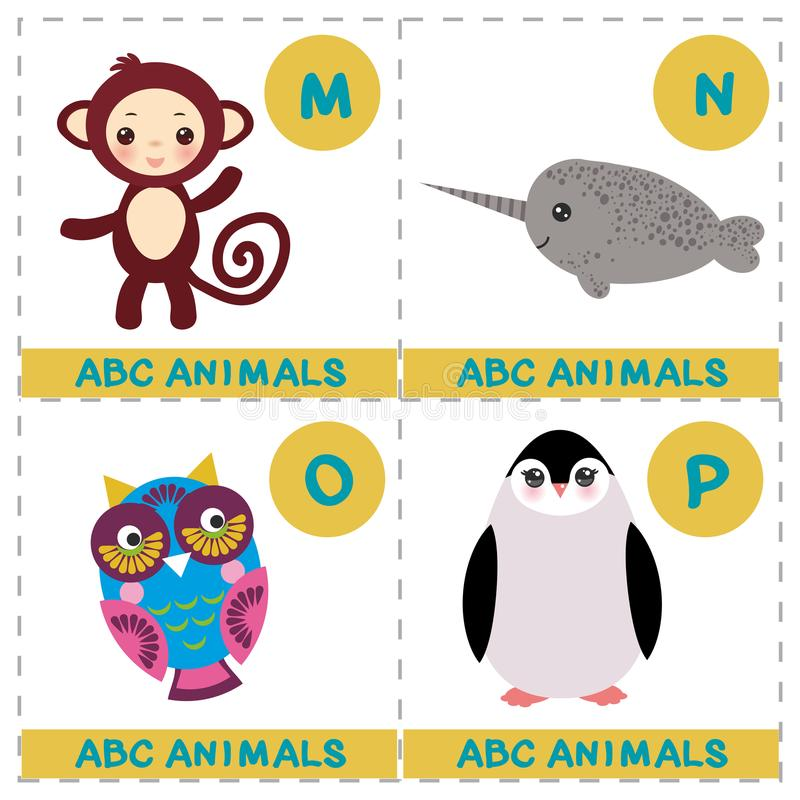 ABC alphabet for kids. Set of funny narwhal owl monkey penguin cartoon animals character. Cards for the game. Zoo isolated on whit royalty free illustration