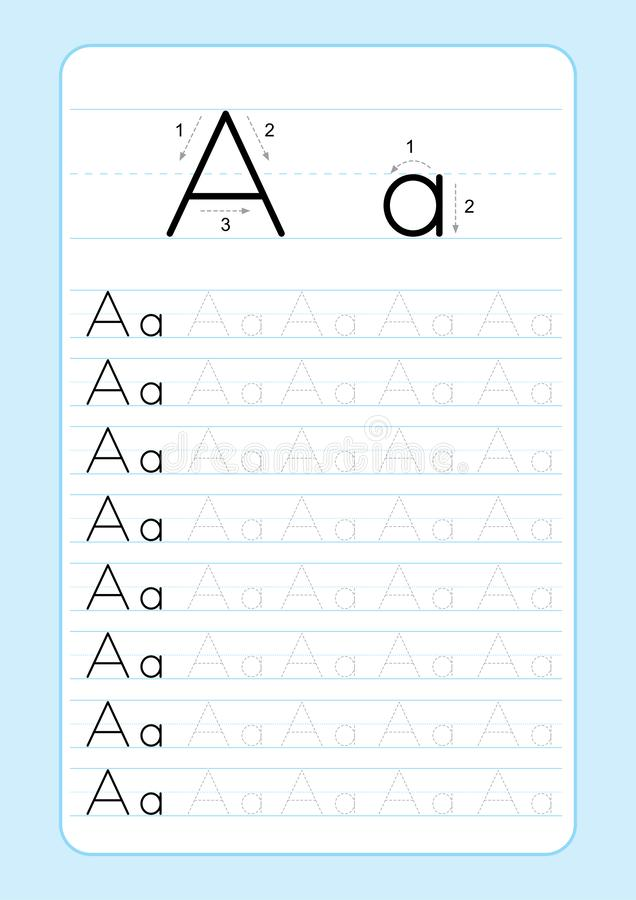 ABC Alphabet letters tracing worksheet with alphabet letters. Basic writing practice for kindergarten kids A4 paper ready to print. Vector illustration royalty free illustration