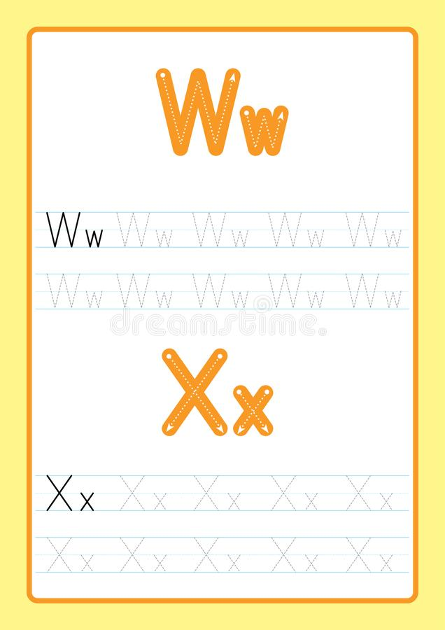 ABC Alphabet letters tracing worksheet with alphabet letters. Basic writing practice for kindergarten kids A4 paper ready to print. Vector illustration vector illustration