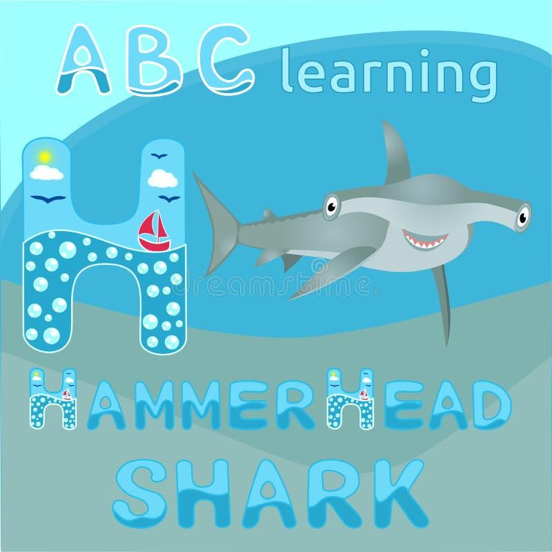 ABC apprenant H marquent avec des lettres requin gris de sourire de grande de poissons de requin de poisson-marteau d'alphabet d' illustration de vecteur