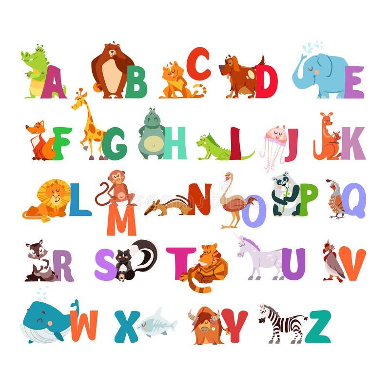 ABC avec des animaux de kawaii illustration libre de droits