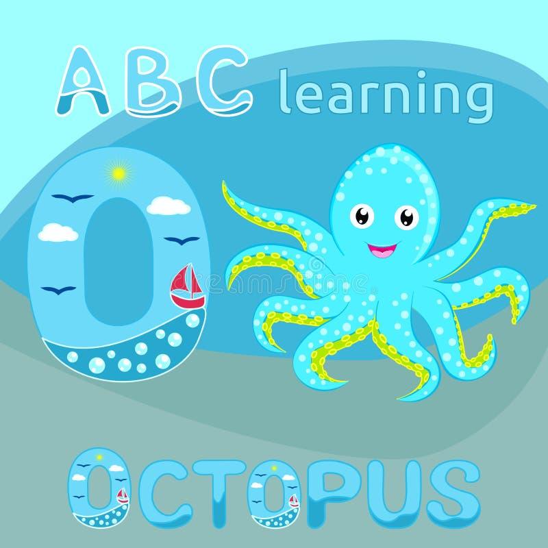 ABC badine l'animal d'océan de personnage de dessin animé repéré par bleu cyan mignon de vecteur de poulpe de bébé de lettre de l illustration de vecteur
