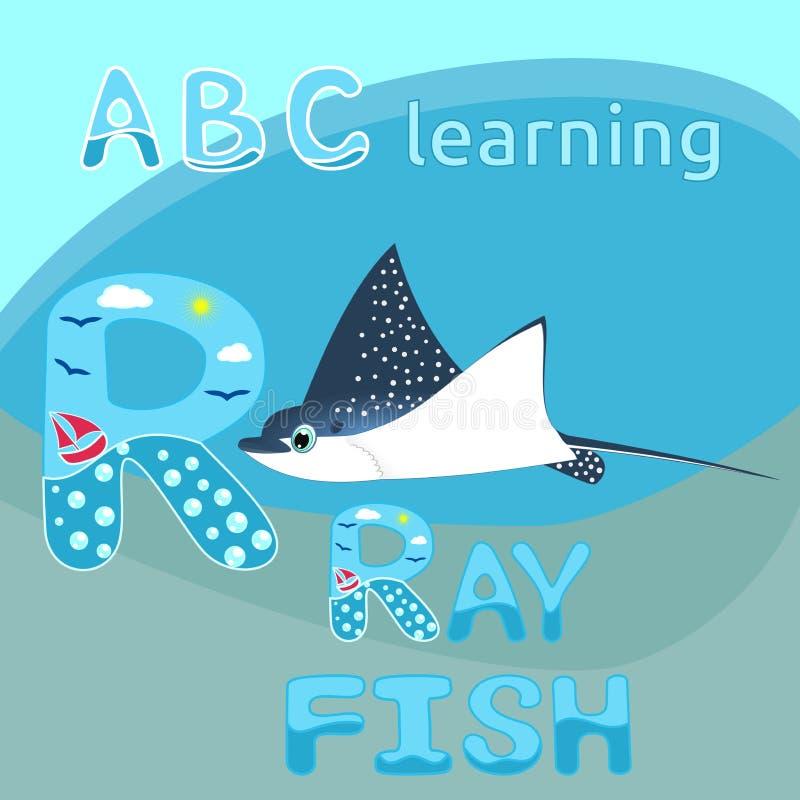 ABC badine l'animal d'océan de personnage de dessin animé repéré par bleu d'animal de mer de vecteur de poissons de rayon de Mant illustration libre de droits