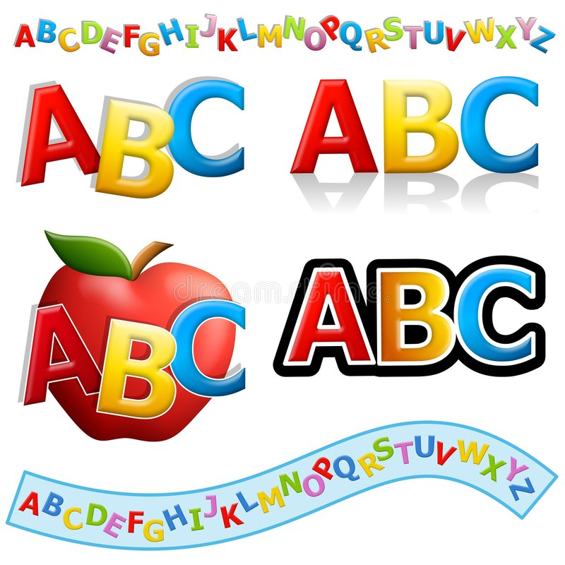 ABC Banners and Logos. An illustration featuring an assortment of ABC educational banners, logos and clip art vector illustration