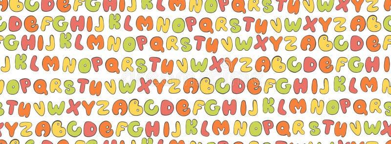 ABC Bezszwowy wzór Kolorowy Listowy tło Kreskówka żartuje chrzcielnicy dla drukować ilustracji